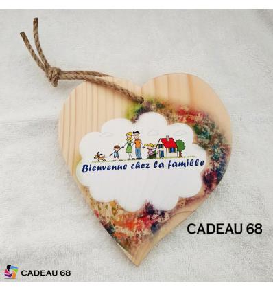 Coeur Bois Famille Cadeau 68