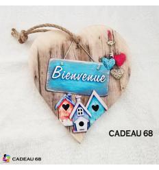 Coeur Bois Bienvenue Cadeau 68