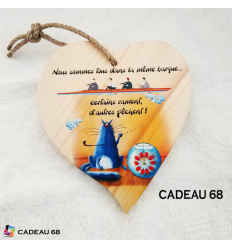 Coeur Bois Pêche Cadeau 68