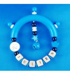 Hochet Bois Bleu et Noir personnalisé Cadeau68