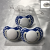 Lot de 3 tétines bleu foncé personnalisées Cadeau68
