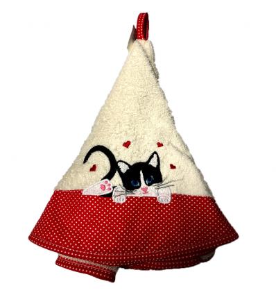 Torchon Rond Eponge Blanc Chat Cadeau68