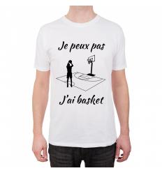 T-shirt Je peux pas j'ai Basket Cadeau68